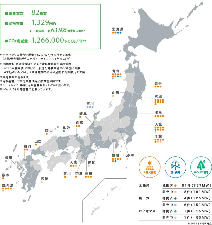 (図)再生可能エネルギー事業マップ