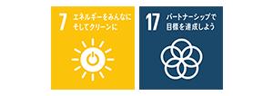7:すべての人々の、安価かつ信頼できる持続可能な近代的なエネルギーへのアクセスを確保する。/17:持続可能な開発のための実施手段を強化し、グローバル・パートナーシップを活性化する。