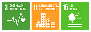 3:Ensure healthy lives and promote well-being for all at all ages / 11:Make cities and human settlements inclusive, safe, resilient and sustainable / 15:Protect, restore and promote sustainable use of terrestrial ecosystems, sustainably manage forests, combat desertification, and halt and reverse land degradation and halt biodiversity loss